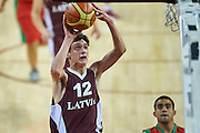 Latvia SO athlete in action while basketball match during second day of the Special Olympics World Games Los Angeles 2015 on July 26, 2015 on Galen Center at University of Southern California in Los Angeles, USA.<br /> USA, Los Angeles, July 26, 2015<br /> <br /> Picture also available in RAW (NEF) or TIFF format on special request.<br /> <br /> For editorial use only. Any commercial or promotional use requires permission.<br /> <br /> Adam Nurkiewicz declares that he has no rights to the image of people at the photographs of his authorship.<br /> <br /> Mandatory credit:<br /> Photo by &copy; Adam Nurkiewicz / Mediasport