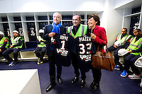 Jean Louis Triaud / Alain Juppe / Arielle Piazza - 23.03.2015 - Visite du Stade de Bordeaux -<br /> Photo : Caroline Blumberg / Icon Sport *** Local Caption ***