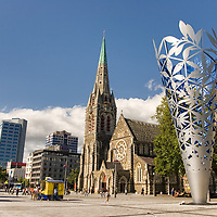 The Chalice, a large designed inverted cone, set in Cathedral Square, near the  Christchurch Cathedral. Due to the 2011 earthquake, the badly damaged cathedral <br /> was starting to be demolished in late march 2012.