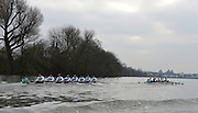 """LONDON, ENGLAND - Thursday  13/12/2012; Cambridge University Crews [R] ,""""Bangers""""  move away from l """"Mash"""", during the annual Varsity trial 8's for The BNY Melon University Boat Race over the Championship Course [Putney to Mortlake]. The River Thames, England. (Mandatory Credit/ Peter  Spurrier/Intersport Images]"""