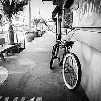 Photo of California beach crusier bike in Newport Beach California. Taken at Cabo Cantina on Main Street on Balboa Peninsula in Orange County Southern California.