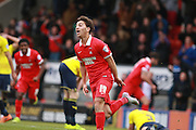 Scott Kashket celerates after scoring the equaliser during the Sky Bet League 2 match between Leyton Orient and Oxford United at the Matchroom Stadium, London, England on 17 October 2015. Photo by Bennett Dean.