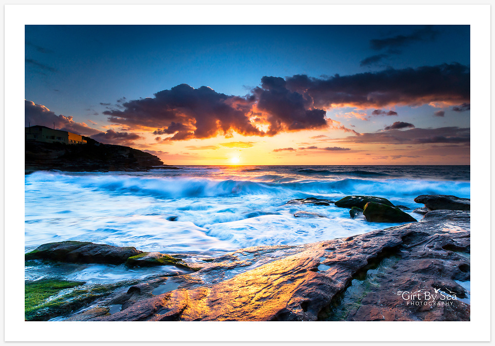 A stunning spring sunrise at Tamarama Beach [Tamarama, NSW, Australia]<br /> <br /> To purchase please email orders@girtbyseaphotography.com quoting the image number PB200752, and your preferred print size. You will receive a quick reply recommending print media options to best suit your chosen image, plus an obligation-free quotation. Current standard size prices are published on the Pricing page.