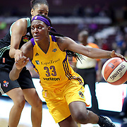 UNCASVILLE, CONNECTICUT- May 2:  Tiffany Jackson-Jones #33 of the Los Angeles Sparks in action during the Los Angeles Sparks Vs New York Liberty, WNBA pre season game at Mohegan Sun Arena on May 2, 2017 in Uncasville, Connecticut. (Photo by Tim Clayton/Corbis via Getty Images)