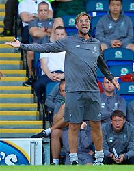BLACKBURN, ENGLAND - Thursday, July 19, 2018: Liverpool's manager Jürgen Klopp reacts during a preseason friendly match between Blackburn Rovers FC and Liverpool FC at Ewood Park. (Pic by Paul Greenwood/Propaganda)