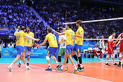 September 30, 2018 - Turin, Piedmont, Italy - Brazilian players celebrates during the final match between Brazil and Poland for the FIVB Men's World Championship 2018 at Pala Alpitour in Turin, Italy, on 30 September 2018. Poland won 3: 0 and it is confirmed world champion. (Credit Image: © Massimiliano Ferraro/NurPhoto/ZUMA Press)