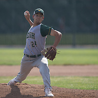 (Photograph by Bill Gerth/for SVCN/5/4/17) Leigh #24 Kanoa Pagan pitches vs Willow Glen in a BVAL Baseball Game at Willow Glen High School, San Jose CA on 5/4/17 (Willow Glen defeats Leigh 10-1)