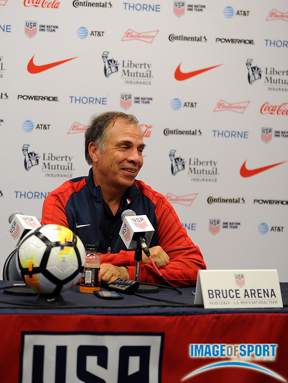 Jul 1, 2017; East Hartford, CT, USA; United States coach Bruce Arena speaks to media after a friendly match with Ghana in East Hartford, CT at Rentschler Field. USA defeated Ghana 2 to 1. Photo by Reuben Canales