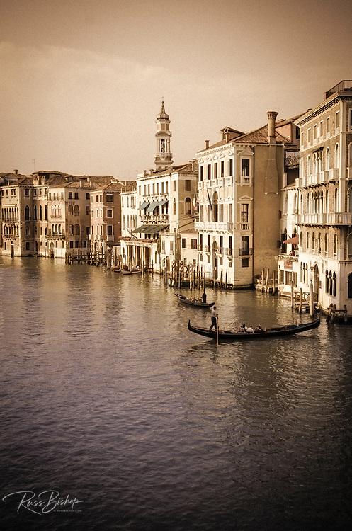 Evening light and gondolas on the Grand Canal, Venice, Veneto, Italy