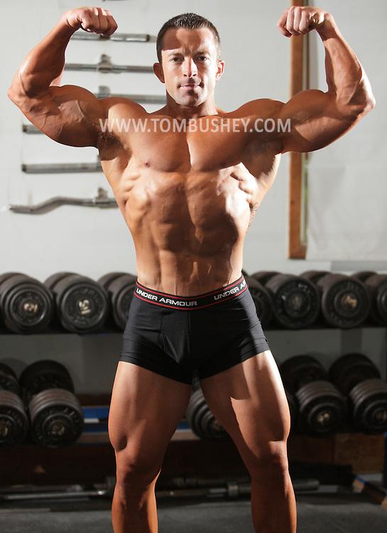 Monroe, New York - Body builder Matt Carey at Bollenbach's Gym on Sept. 12, 2010.