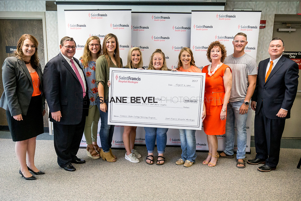 8/8/17 10:24:03 AM --  Saint Francis Health System presents a check to Connors State for their nursing school. <br /> <br /> Photo by Shane Bevel