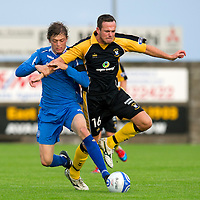 East Fife v St Johnstone...11.07.12  Pre-Season Friendly<br /> Murray Davidson battles with David Muir<br /> Picture by Graeme Hart.<br /> Copyright Perthshire Picture Agency<br /> Tel: 01738 623350  Mobile: 07990 594431