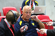 Burton Albion coach Andy Garner gives a pre-match interview during the EFL Sky Bet Championship match between Bristol City and Burton Albion at Ashton Gate, Bristol, England on 13 October 2017. Photo by John Potts.