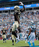 New Orleans Saints wide receiver Michael Thomas celebrates a touchdown vs the Carolina Panthers.
