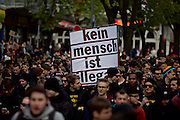 Hamburg | 01 May 2015<br /> <br /> 4000 protesters take part in the &quot;Never Mind The Papers&quot; rally for migrants and refugees in the german city of Hamburg. Picture shows the demonstration march with a banner wich reads &quot;Kein Mensch ist illegal&quot;.<br /> <br /> &copy;peter-juelich.com<br /> <br /> [Foto honorarpflichtig | Fees Apply | No Model Release | No Property Release]