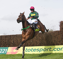 LIVERPOOL, ENGLAND - Thursday, April 8, 2010: Calgary Bay ridden by Graham Lee during the Totesport Bowl Steeple Chase during the opening day of the Grand National Festival at Aintree Racecourse. (Pic by David Rawcliffe/Propaganda)