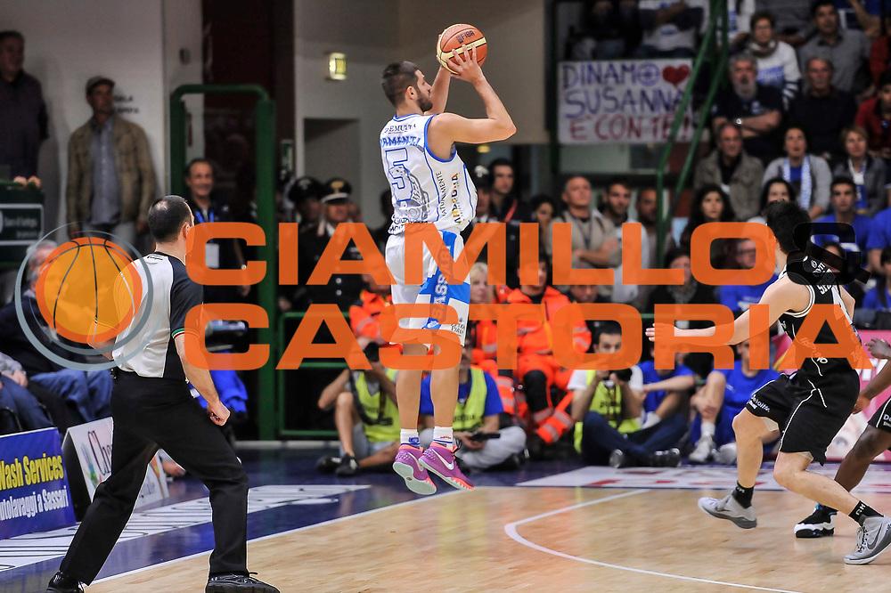 DESCRIZIONE : Campionato 2014/15 Dinamo Banco di Sardegna Sassari - Dolomiti Energia Aquila Trento Playoff Quarti di Finale Gara4<br /> GIOCATORE : Matteo Formenti<br /> CATEGORIA : Tiro Tre Punti Three Points Controcampo<br /> SQUADRA : Dinamo Banco di Sardegna Sassari<br /> EVENTO : LegaBasket Serie A Beko 2014/2015 Playoff Quarti di Finale Gara4<br /> GARA : Dinamo Banco di Sardegna Sassari - Dolomiti Energia Aquila Trento Gara4<br /> DATA : 24/05/2015<br /> SPORT : Pallacanestro <br /> AUTORE : Agenzia Ciamillo-Castoria/L.Canu