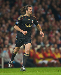 LONDON, ENGLAND - Wednesday, October 28, 2009: Liverpool's Sotirios Kyrgiakos in action against Arsenal during the League Cup 4th Round match at Emirates Stadium. (Photo by David Rawcliffe/Propaganda)
