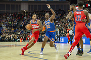 Washington Wizards Trevor Ariza (1) and New York Knicks Noah Vonieh (32) during the NBA London Game match between Washington Wizards and New York Knicks at the O2 Arena, London, United Kingdom on 17 January 2019.