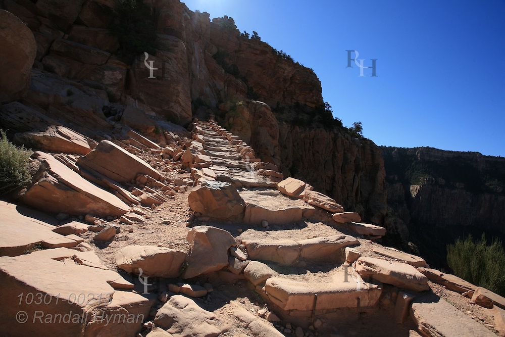 Stone steps on upper South Kaibab Trail lead to Cedar Point; Grand Canyon National Park, Arizona.
