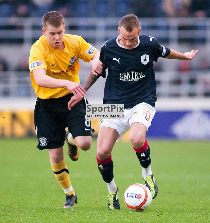 Kallum Higginbotham gets away from Jamie McKernon,Falkirk v Ayr, SFL Division 1 League Match, Falkirk Stadium