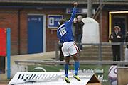 Carlisle United Forward Jabo Ibehre celebrates the opening goal during the Sky Bet League 2 match between Carlisle United and Stevenage at Brunton Park, Carlisle, England on 20 February 2016. Photo by Craig McAllister.