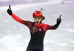 Canada's Samuel Girard celebrates winning gold in the Short Track Speed Skating - Men's 1,000m Final at the Gangneung Oval during day eight of the PyeongChang 2018 Winter Olympic Games in South Korea. PRESS ASSOCIATION Photo. Picture date: Saturday February 17, 2018. See PA story OLYMPICS Speed Skating. Photo credit should read: Mike Egerton/PA Wire. RESTRICTIONS: Editorial use only. No commercial use.