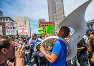 Jul 20, 2016; Cleveland, OH, USA; Protestors shout at the display of the Westboro Baptist Church in downtown Cleveland at the site of the Republican National Convention.