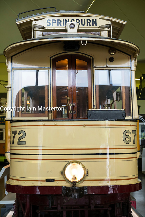 Old Glasgow tram on display at Riverside transport museum in Glasgow, Scotland, United Kingdom