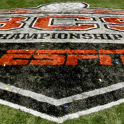 January 3, 2012; New Orleans, LA, USA; A detail of the BCS Championship Series logo in the endzone following the Sugar Bowl between the Michigan Wolverines and the Virginia Tech Hokies at the Mercedes-Benz Superdome. Michigan defeated Virginia 23-20 in overtime. Mandatory Credit: Derick E. Hingle-US PRESSWIRE
