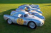 Image of vintage Porsche 550 Prototypes, 1953 Porsche 550-03, 1953 Porsche 550-04, 1953 Porsche 550-01 at the Porsche Race Car Classic, Quail Lodge, Carmel, California, America west coast