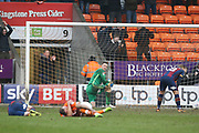 Despair as the ball is in the net for the fourth Bradford City goal 4-0 Bradford City midfielder Romain Vincelot (6) and Blackpool striker Kyle Vassell (7) lie injured during the EFL Sky Bet League 1 match between Blackpool and Bradford City at Bloomfield Road, Blackpool, England on 7 April 2018. Picture by Craig Galloway.
