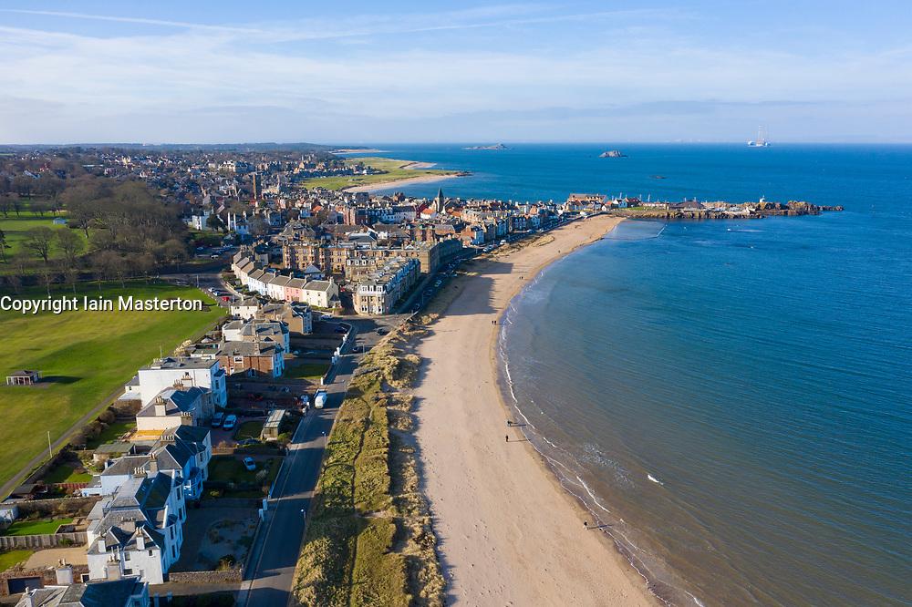 Aerial view of North Berwick town in East Lothian, Scotland, UK