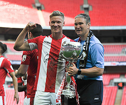 BRACKLEY TOWN GOAL SCORER GARETH DEAN CELEBRATES WITH THE TROPHY with manager kevin wilkin,   BRACKLEY TOWN  GOAL SCORER  GARETH DEAN  AND MANAGER KEVIN WILKIN CELEBRATE WITH THE TROPHY,    The Buildbase FA Trophy Final Brackley Town v Bromley Wembley Stadium Sunday 20th May 2018