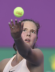 DOHA, Feb. 12, 2018  Daria Kasatkina of Russia serves during the single's first round match against Catherine Bellis of the United States at the 2018 WTA Qatar Open in Doha, Qatar, on Feb. 12, 2018. Daria Kasatkina retired due to injury. (Credit Image: © Nikku/Xinhua via ZUMA Wire)