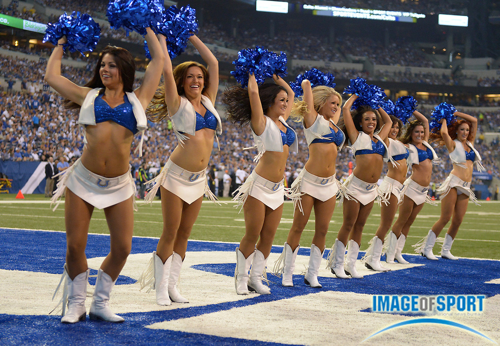 Sep 8, 2013; Indianapolis, IN, USA; Indianapolis Colts cheerleaders perform during the game against the Oakland Raiders at Lucas Oil Stadium.