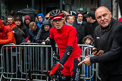 Rider of BMC Racing Team at Liège, before the start of the 102th edition of Liège-Bastogne-Liège race running 253 km from Liège to Liège, Belgium, 24 April 2016.<br /> Photo by Pim Nijland / PelotonPhotos.com<br /> <br /> All photos usage must carry mandatory copyright credit (© Peloton Photos | Pim Nijland)