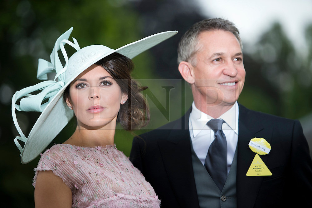 © London News Pictures. 18/06/2013. Ascot, UK.  Garry Lineker and his wife Danielle attend day one of Royal Ascot at Ascot racecourse in Berkshire, on June 18, 2013.  The 5 day showcase event,  which is one of the highlights of the racing calendar, has been held at the famous Berkshire course since 1711 and tradition is a hallmark of the meeting. Top hats and tails remain compulsory in parts of the course. Photo credit should read: Ben Cawthra/LNP