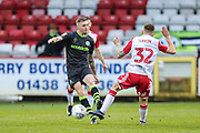 Forest Green Rovers Carl Winchester(7) and Stevenage's Charlie Lakin(32) during the EFL Sky Bet League 2 match between Stevenage and Forest Green Rovers at the Lamex Stadium, Stevenage, England on 26 December 2019.