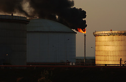 Crude oil storage tanks at the Jose complex