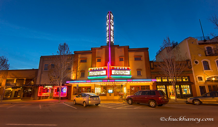 The historic Tower Theatre on Wall Street at dusk in downtown Bend, Oregon, USA