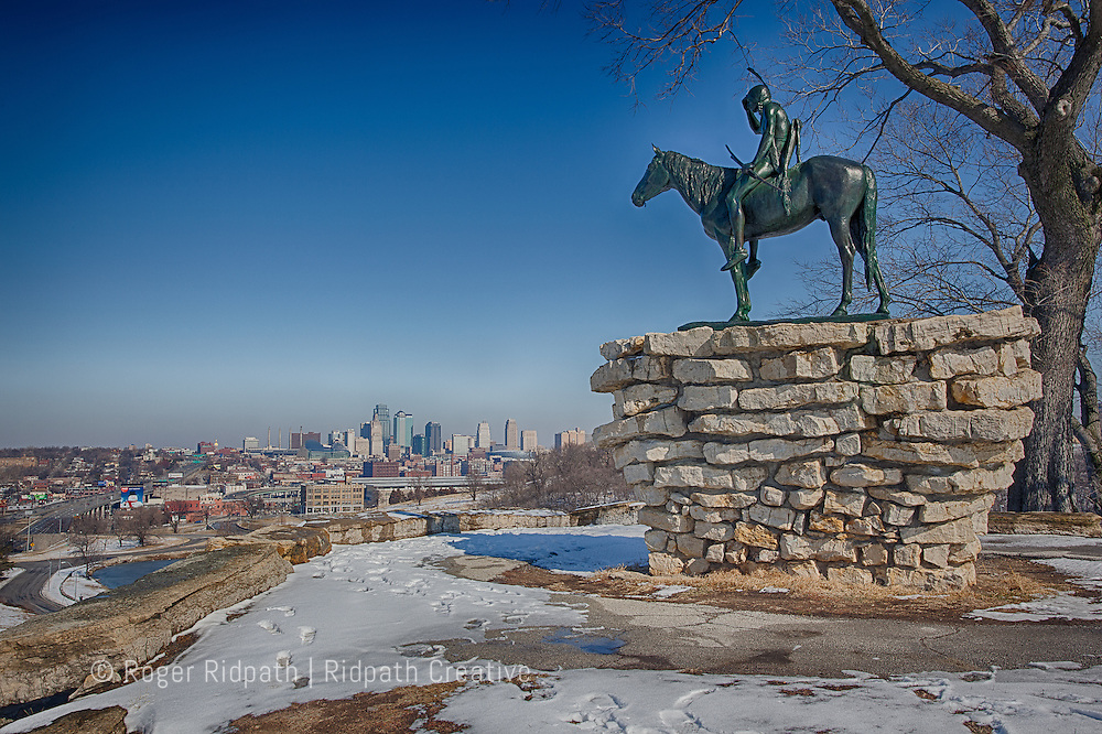 Kansas City landmark KC Scout in Winter with skyline