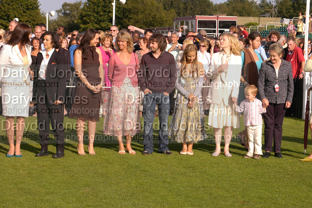 Angelica Huston, Bianca Jagger, Martine McCutcheon, Sabrina Guinness, James Blunt, Camilla Boles, Cate Blanchett and her baby son Roman Upton waiting to meet the Queen. Cartier International Day at Guards Polo Club, Windsor Great Park. July 24, 2005. ONE TIME USE ONLY - DO NOT ARCHIVE  © Copyright Photograph by Dafydd Jones 66 Stockwell Park Rd. London SW9 0DA Tel 020 7733 0108 www.dafjones.com