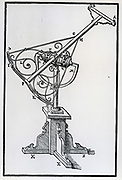 Large steel sextant on stand, used for measuring angular distances between stars. From Tycho Brahe  'Astronomiae instaurate mechanica', 1602.