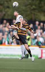 Hibernian's Jordan Forester and Alloa Athletic's Greig Spence.<br /> half time : Alloa Athletic 0 v 1 Hibernian, Scottish Championship game played 30/8/2014 at Alloa Athletic's home ground, Recreation Park, Alloa.