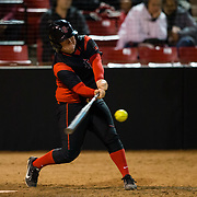 02 March 2018: San Diego State softball closes out day two of the San Diego Classic I at Aztec Softball Stadium with a night cap against CSU Northridge. San Diego State third baseman Molly Sturdivant (31) hits the ball on the screws but right at the left fielder for the final out of the sixth inning. The Aztecs dropped a close game 2-0 to the Matadors. <br /> More game action at sdsuaztecphotos.com