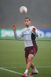 CARDIFF, WALES - Monday, March 21, 2011: Wales' Lewin Nyatanga during a training session at the Vale of Glamorgan ahead of the UEFA Euro 2012 qualifying Group G match against England. (Photo by David Rawcliffe/Propaganda)