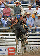 Saddle Bronc Rider COLIN STALLEY scores a 78 after riding CRAY TRAIN, 27 July 2007, Cheyenne Frontier Days