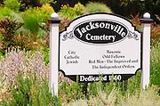 Jacksonville Cemetery sign, Jacksonville, Oregon USA