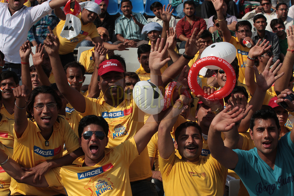 Fans of Chennai Super Kings during match 9 of the Indian Premier League ( IPL ) Season 4 between the Kings XI Punjab and the Chennai Super Kings held at the PCA stadium in Mohali, Chandigarh, India on the 13th April 2011..Photo by Anil Dayal/BCCI/SPORTZPICS